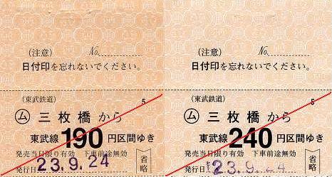 東武鉄道 常備軟券乗車券1 桐生線 三枚橋駅