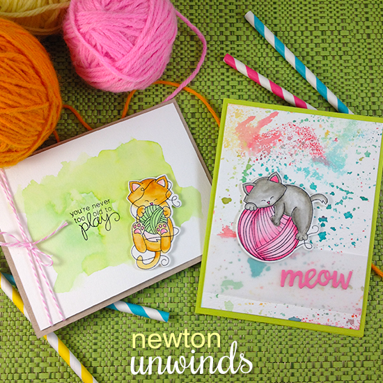 Cat and Yarn Cards by Jennifer Jackson | Newton Unwinds Stamp Set & Die Set by Newton's Nook Designs #newtonsnook