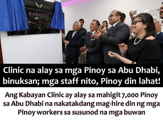 When we talk about our physical health, it is important to have a doctor or health practitioner that we are comfortable talking about our discomfort or pains.  In Abu Dhabi, Overseas Filipino Workers and Filipinos residing in the said city will no longer long for the care of fellow Filipino doctors of nurses.