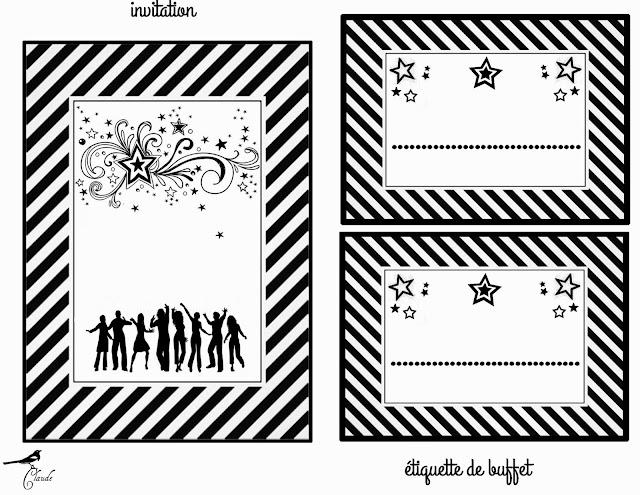 Para hacer invitaciones, tarjetas, marcos de fotos o etiquetas, para imprimir gratis para Fiesta en Blanco y Negro.