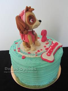 bolo aniversário skye patrulha pata bragança doces opções