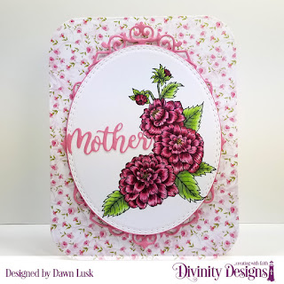 Divinity Designs Stamp Set: Daughter's Best Friend, Paper Collection: Pretty Pink Peonies, Custom Dies: Family Names 1, Rounded Rectangles, Oval Stitched Rows, Ornate Ovals