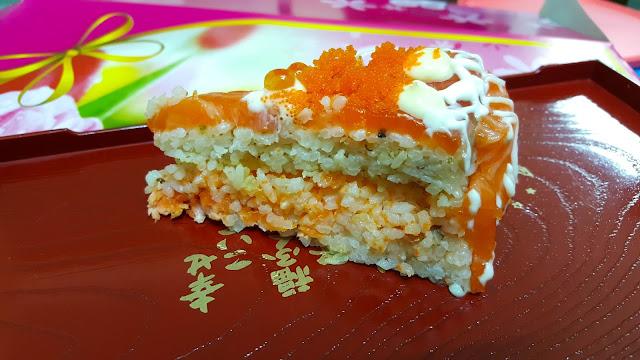 salmon sashimi sushi cake edo ichi sandakan japanese food