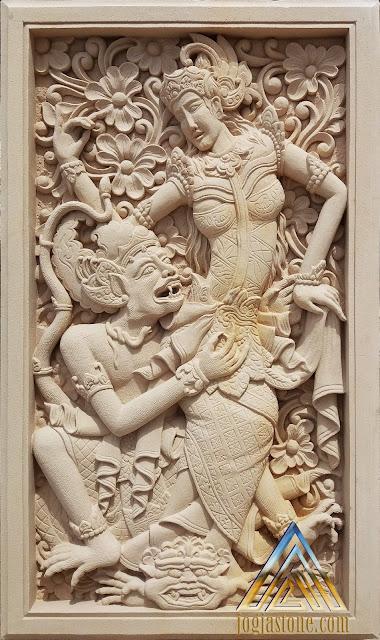 Relief batu alam paras jogja/batu putih gambar dewi sinta dan hanoman