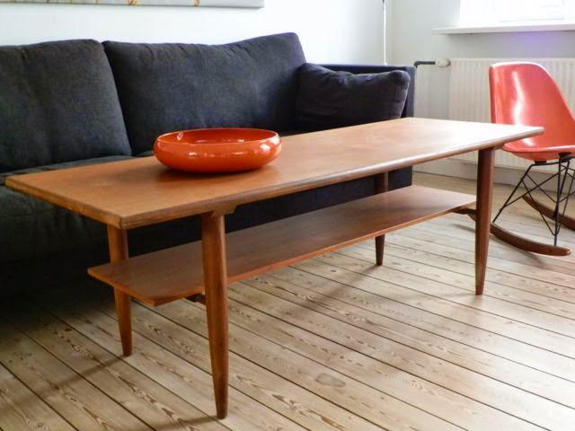 retro sofabord Retro Furniture: Langt teaktræ sofabord retro sofabord