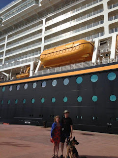 Mike and Gena in front of the Disney Dream Cruise ship