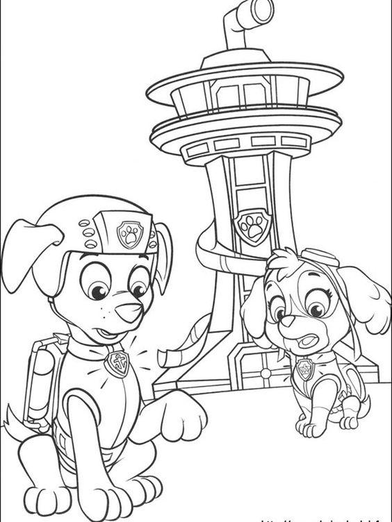 Tranh tô màu chó cứu hộ và đài quan sát