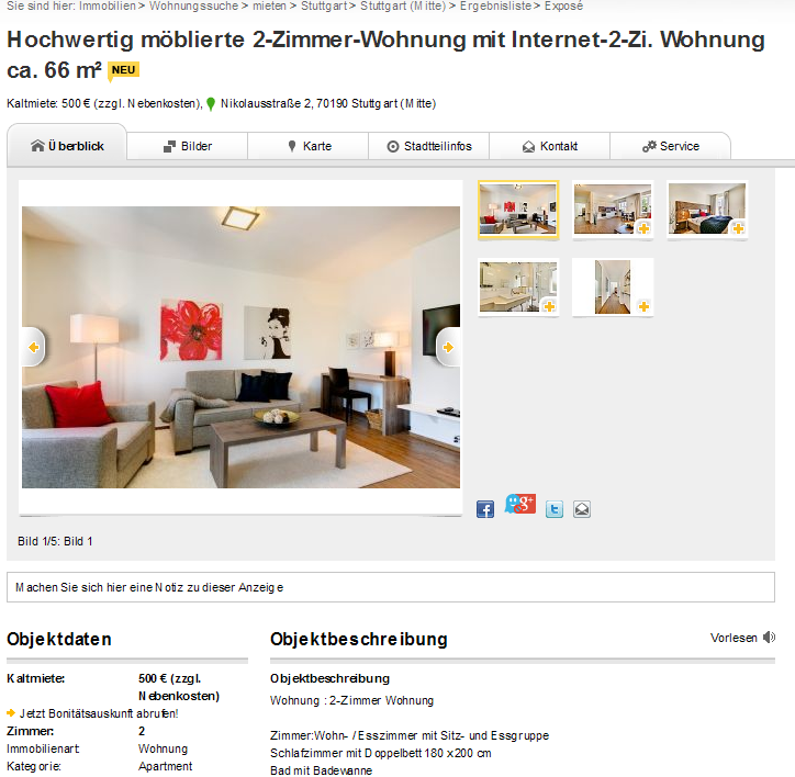 wohnung mit internet 2 zi. Black Bedroom Furniture Sets. Home Design Ideas