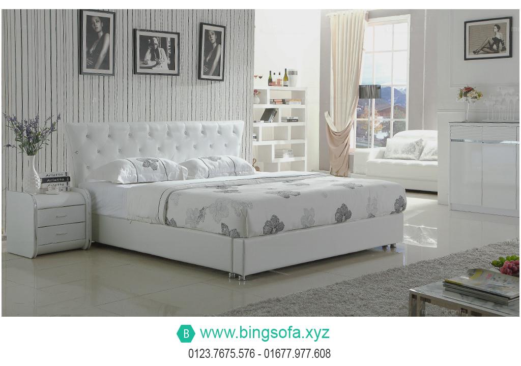 Mẫu giường bọc da tân cổ điển GN11