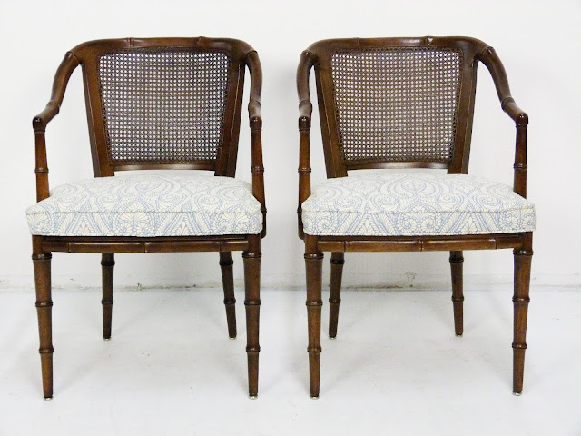 Henredon Faux-Bamboo and Cane Side Armchairs Mid-Century