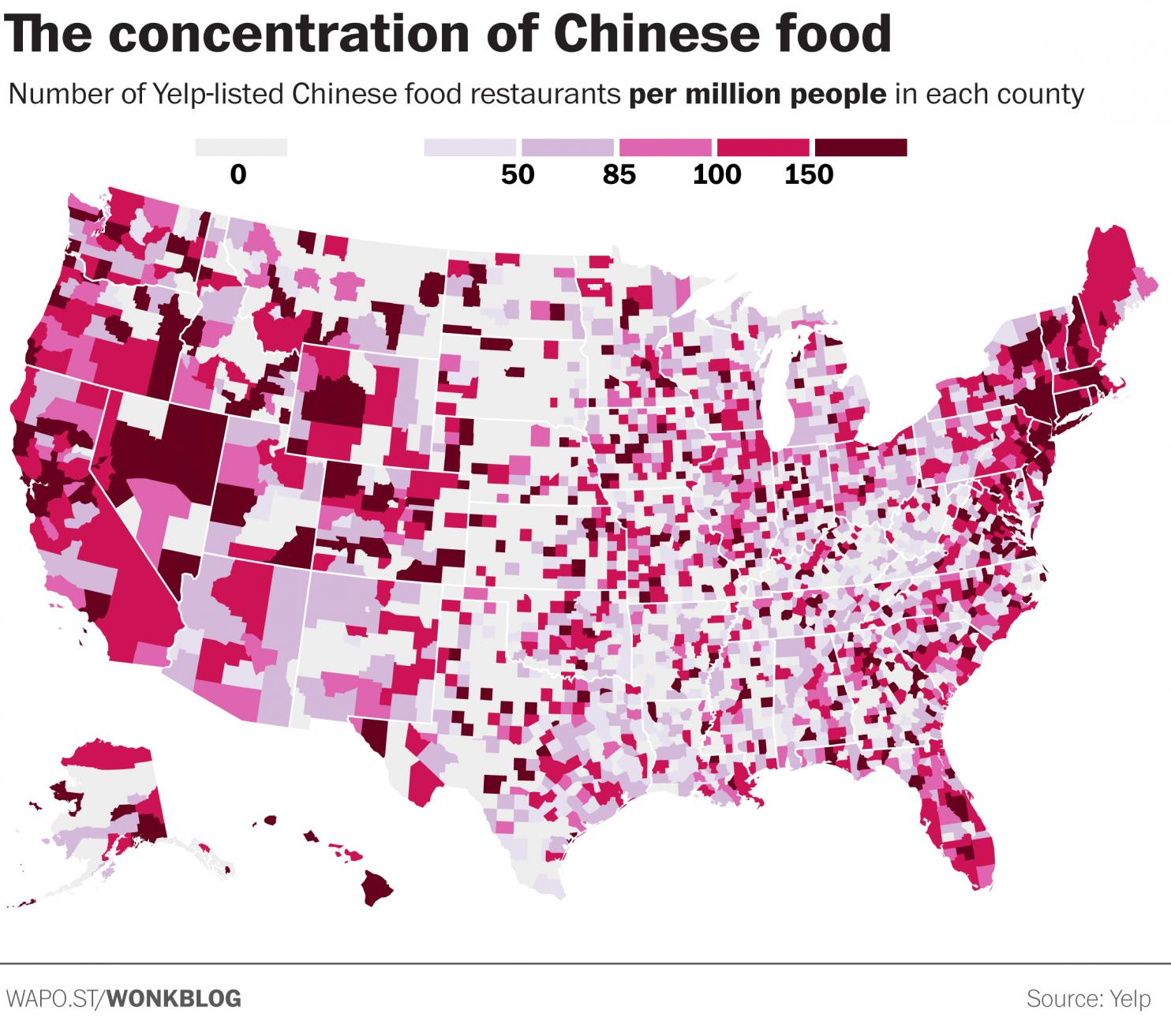 Concentration of Chinese restaurants with the U.S.