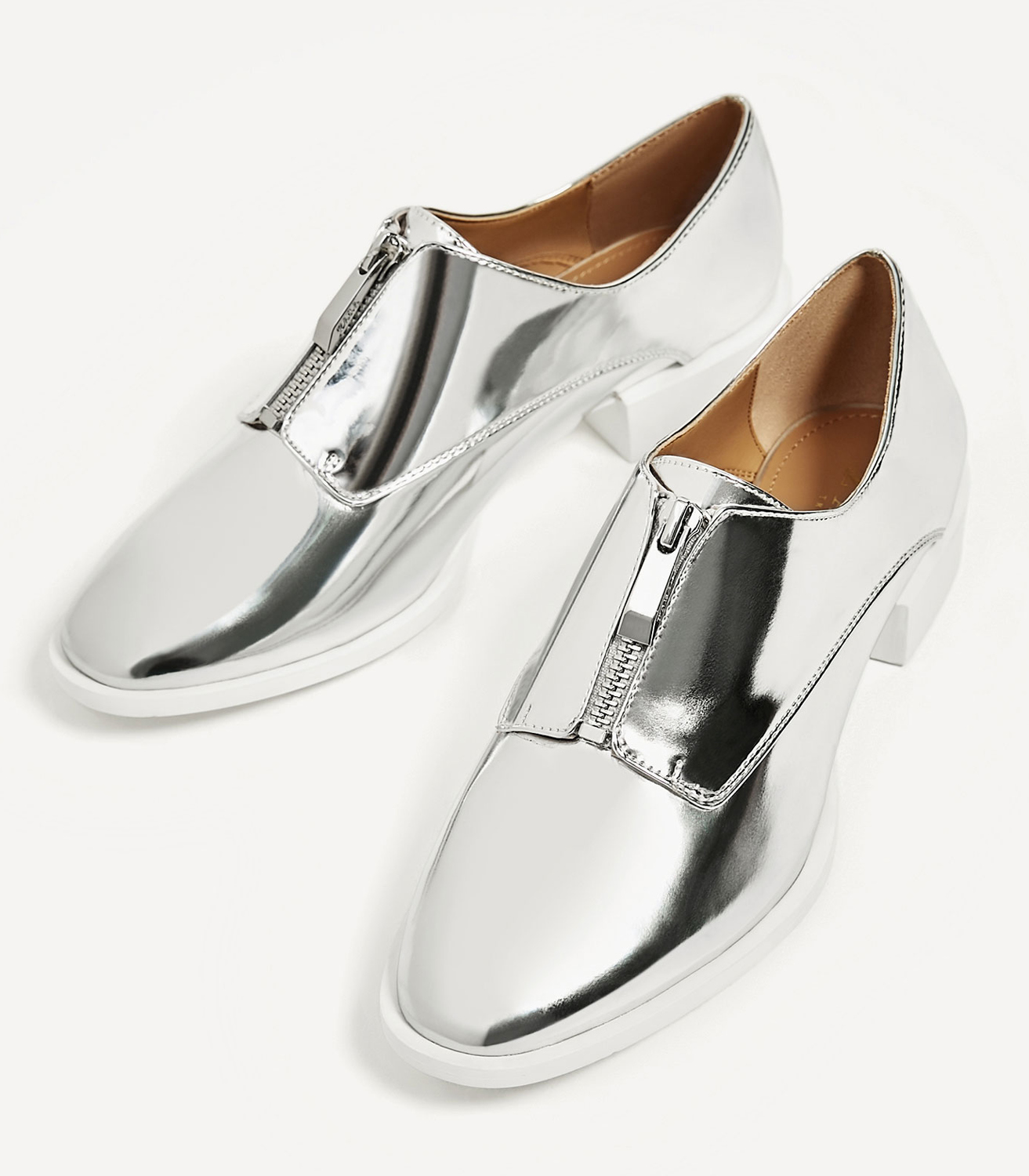 Buy Zara Silver Brogues