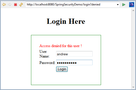Spring Security Authentication and Authorization Example with