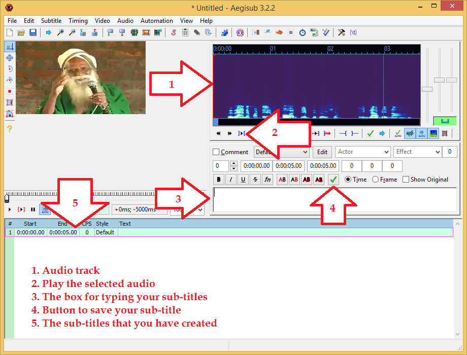 India civilised how to create video subtitles in 10 minutes easily 1 is the selected audio track 2 is the button you click to play the selected audio 3 is the box where you will type your subtitles ccuart Gallery