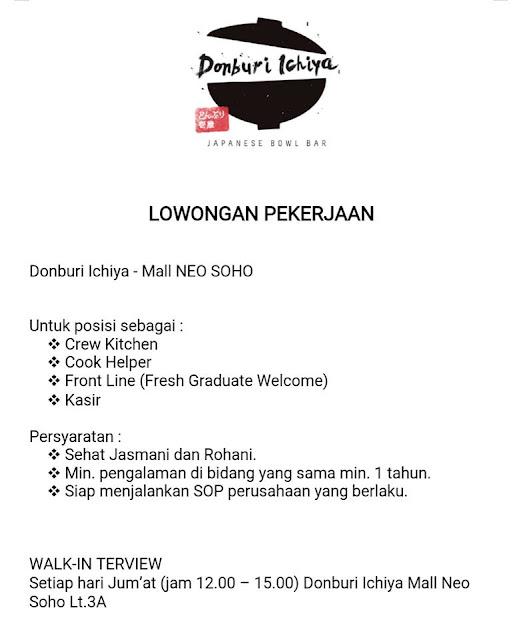 lowongan kerja Crew dan Kasir Donburi Ichiya Mall Neo