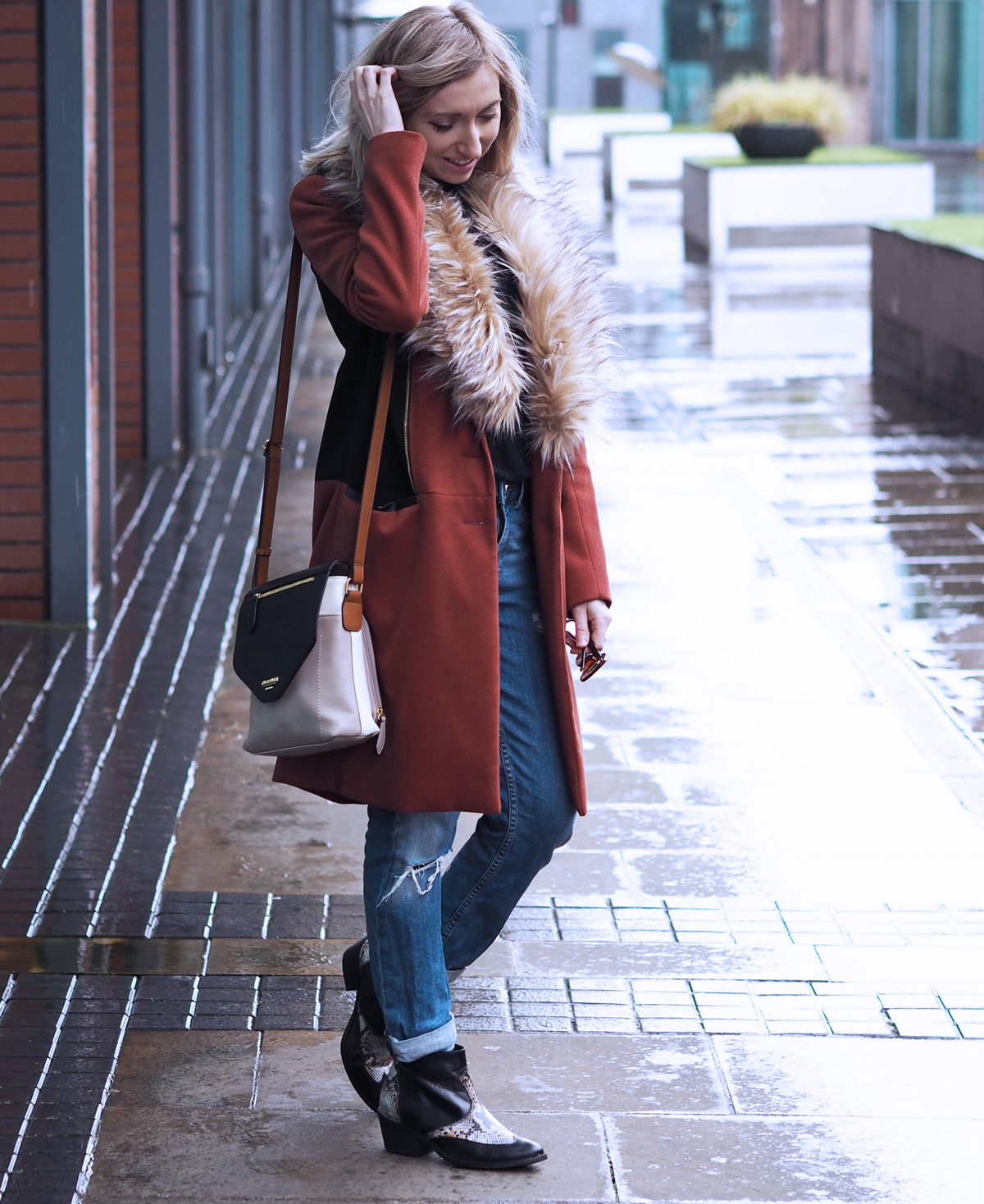 River Island Fur Jacket - Rock On Holly blog
