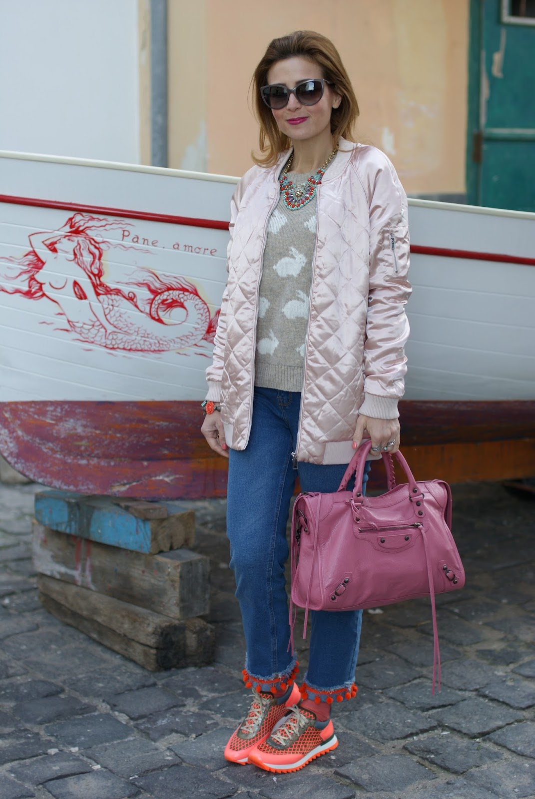 Pink satin bomber jacket, uno8uno sneakers, custom Dondup lookalike jeans on Fashion and Cookies fashion blog, fashion blogger style