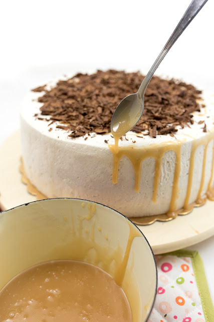 Salty caramel over caramel cake