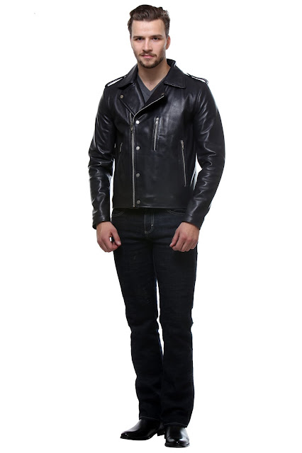 NAVY COLOR BIKER LEATHER JACKET BY BARESKIN