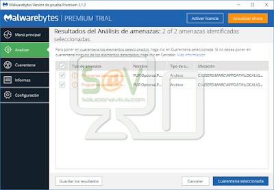 Amenazas detectadas por Malwarebytes