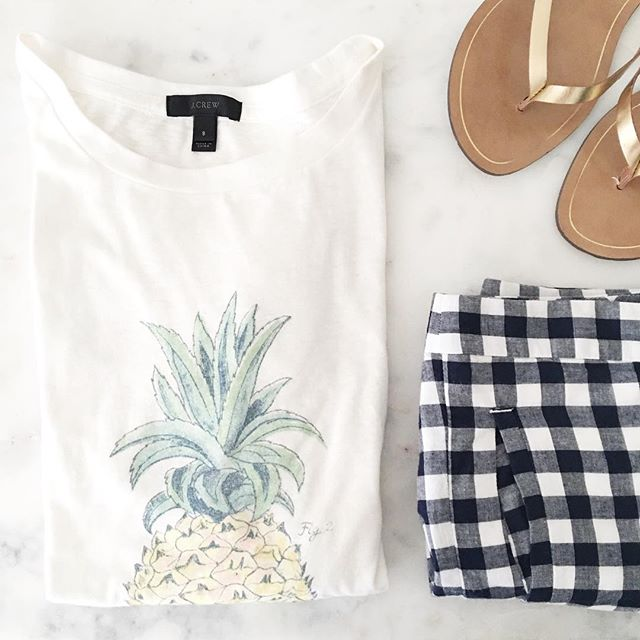 J.Crew-pineapple-tee-gingham-shorts