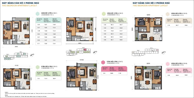 Sơ đồ mặt bằng căn hộ Jamila 2 phòng ngủ Khang Điền
