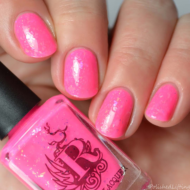 neon pink flakie nail polish