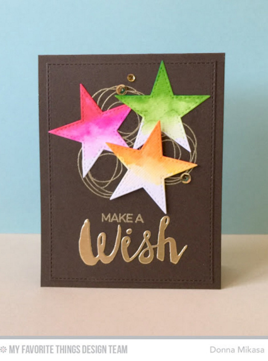 Handmade card from Donna MIkasa featuring Lisa Johnson Designs Whimsical Wishes  and Laina Lamb Design Count the Stars stamp sets, Stitched Star STAX and Laina Lamb Design Stars & Wishes Die-namics #mftstamps