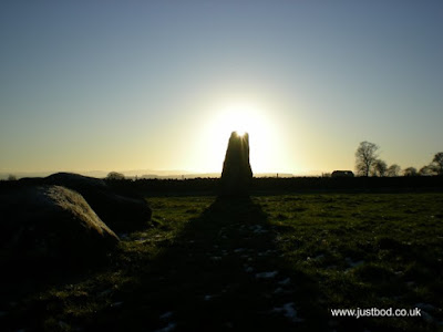 December sun setting over Long Meg, Cumbria