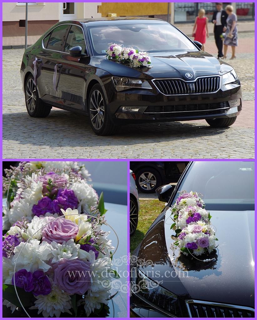 Fioletowa dekoracja ślubnego samochodu Nysa