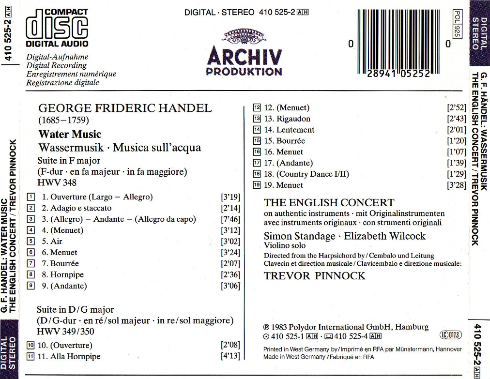 Mi Música Clásica: Handel - Water Music - Pinnock (1983)