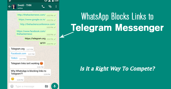 WhatsApp Blocks Links to Telegram Messenger (Its biggest Competitor)