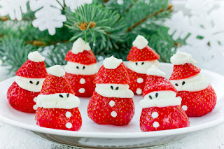 Strawberry Santa for a fun strawberry dessert
