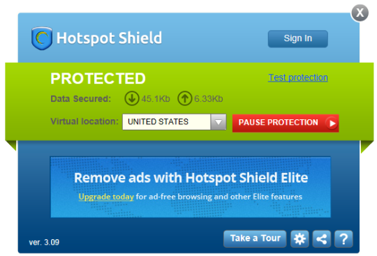 537187121a0a0a0e79130a082a7964201176 1HotspotShield PC Free 3.09 DashBoard 540x367 Hotspot Shield 3.42 Download Last Update