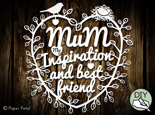 Mothers Day Papercut Template