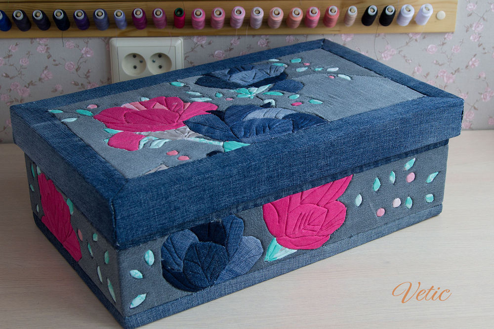 Needlework accessories bag, Organizer, denim, Patchwork