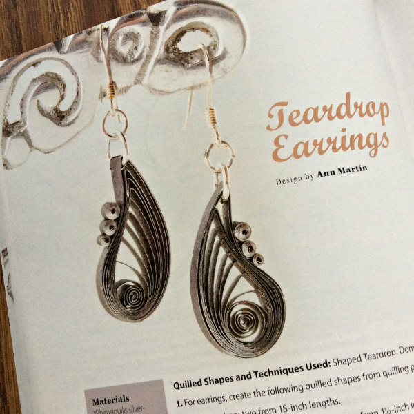 quilled teardrop silver and black paper earrings as seen on the Creative Paper Quilling book page