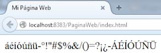 Visualización correcta de caracteres y acentos en el navegador web.