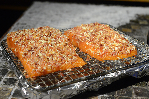 Recipe for bacon crusted salmon on the grill.
