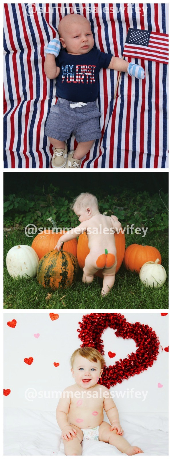 Collage of monthly baby photo ideas for holidays.