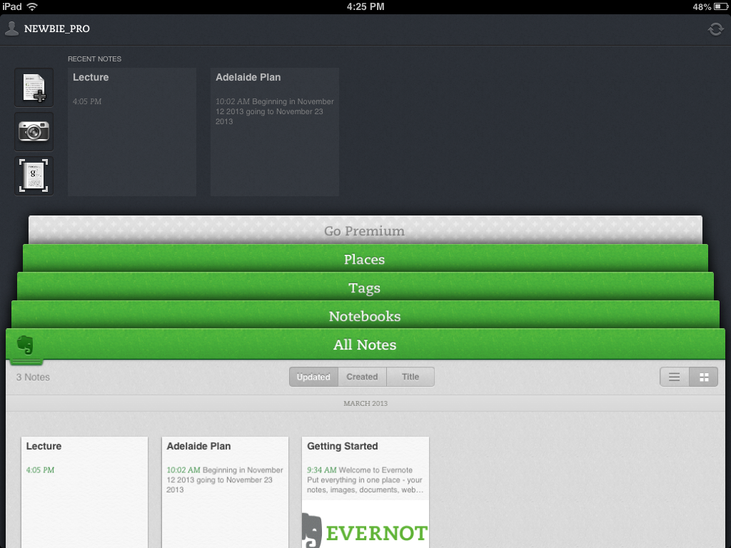 Evernote app for iPad