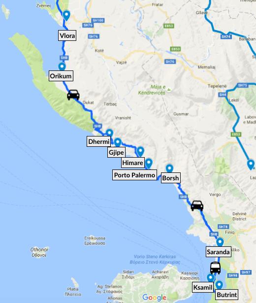 Itinéraire de Vlora à Butrint sur la riviera albanaise