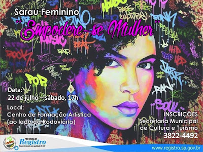 Centro de Formação Artística sediará Sarau Feminino em Registro-SP