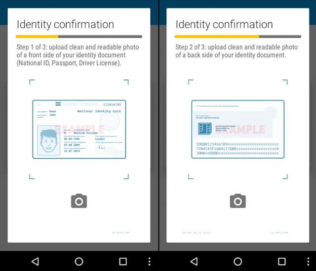 As duas primeiras etapas pedir ao usuário fazer upload de uma foto limpo e legível do lado da frente e de trás do documento de identidade da vítima (documento de identidade, passaporte, carteira de motorista)