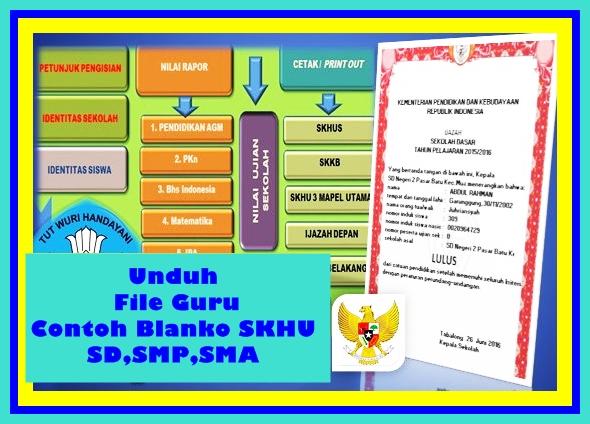 Aplikasi Contoh Blanko SKHU SD SMP SMA Versi Terbaru 2017