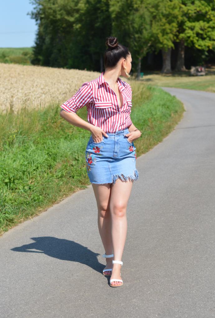 Floral Denim Skirt with Red Striped Shirt, Zara Floral Denim Skirt, Yoins Red Striped Shirt, H&M Earrings