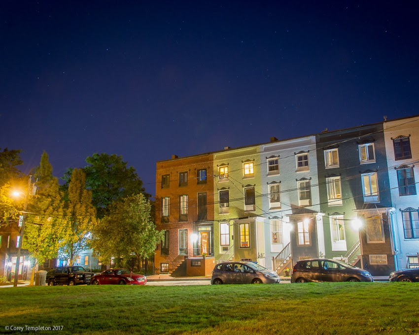 Portland, Maine USA September 2017 photo by photographer Corey Templeton. Urban stargazing in front of the rowhouses at Stratton Place in the West End.
