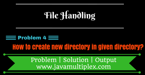 Java program that creates a new directory inside given directory.