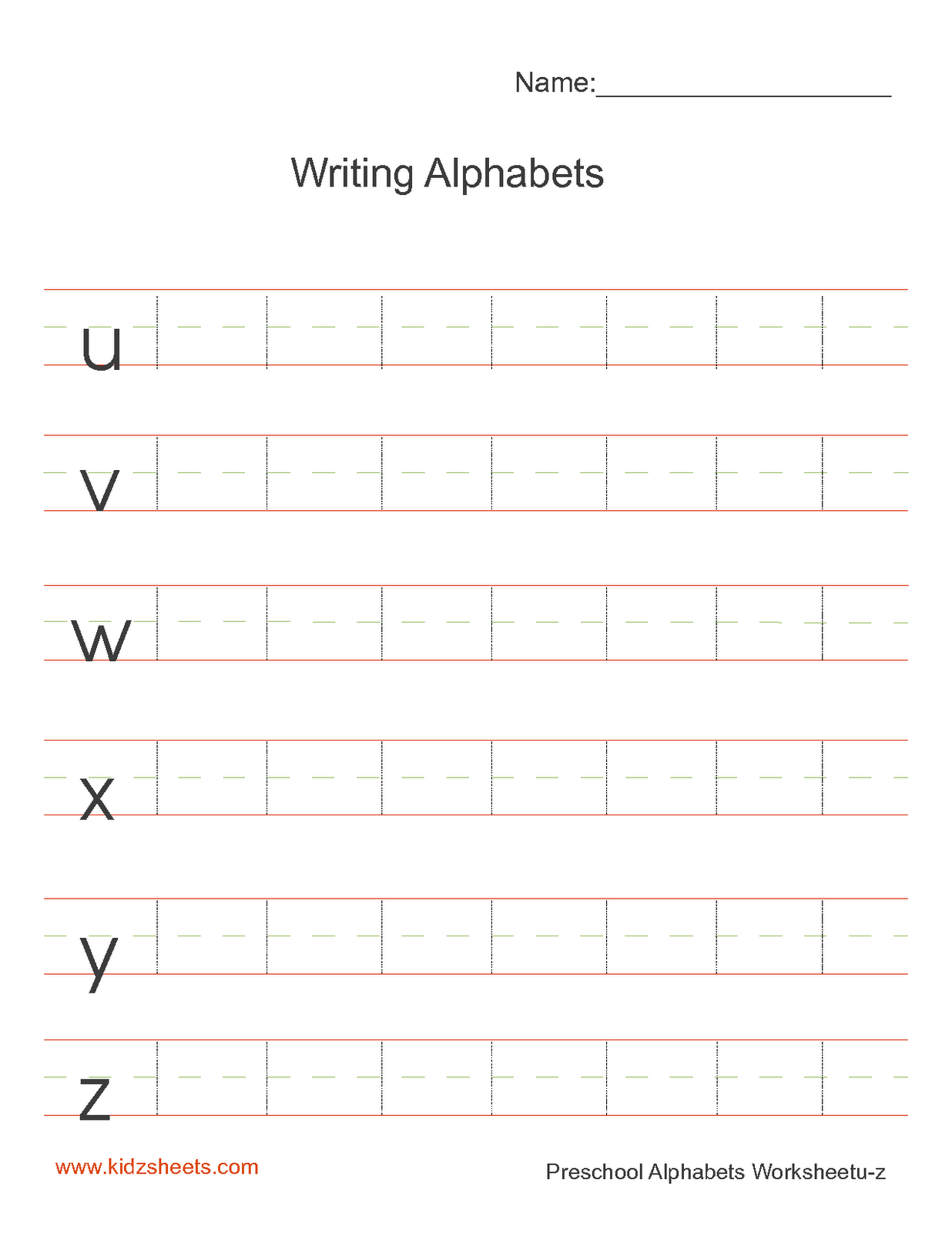 Kidz Worksheets Preschool Writing Alphabets Worksheet5