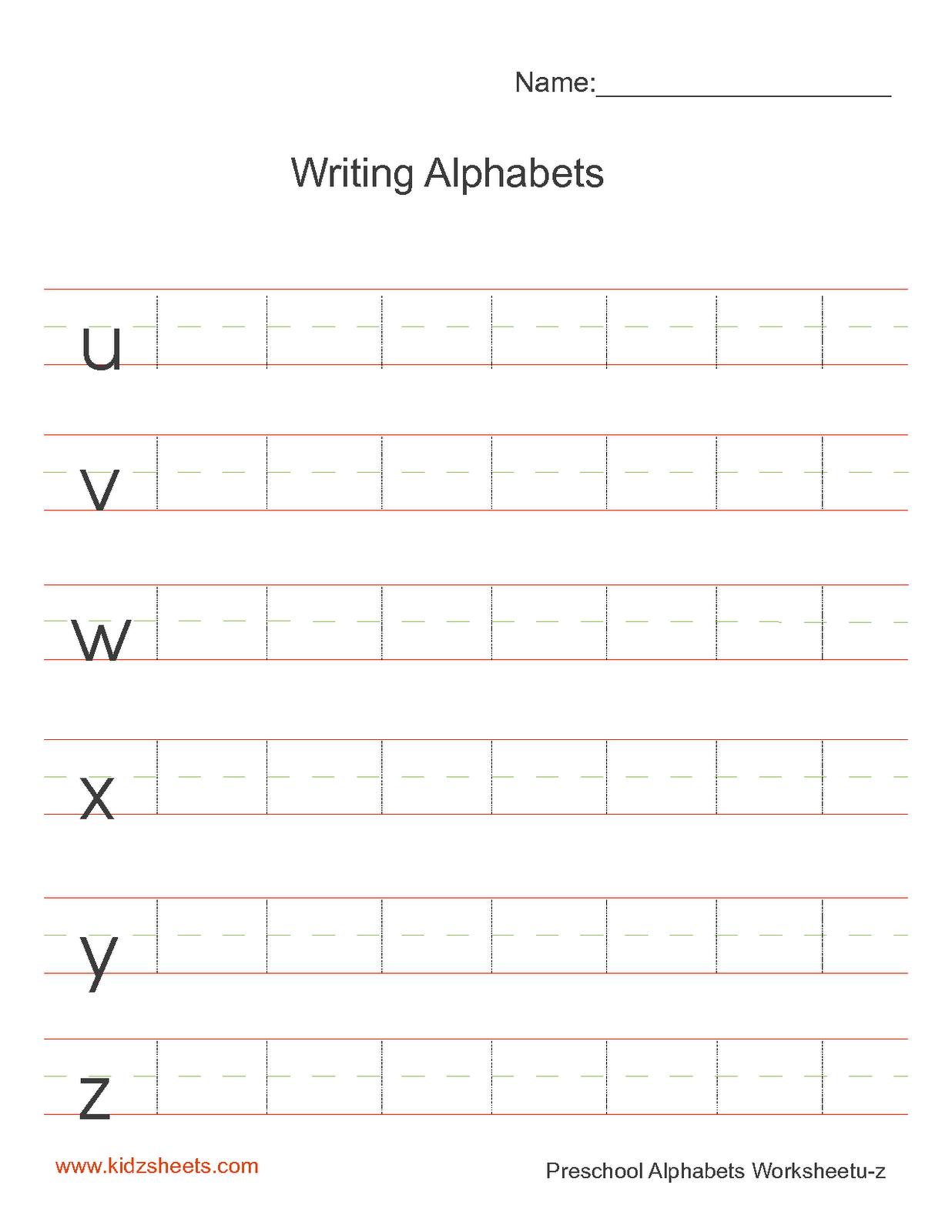 Kidz Worksheets Preschool Writing Alphabets Worksheet5